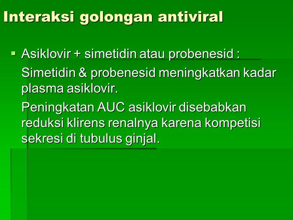 Interaksi golongan antiviral  Asiklovir + simetidin atau probenesid : Simetidin & probenesid meningkatkan kadar plasma asiklovir. Peningkatan AUC asi