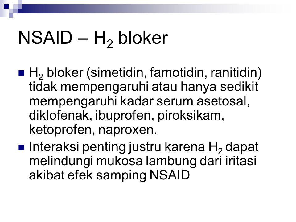 NSAID – H 2 bloker H 2 bloker (simetidin, famotidin, ranitidin) tidak mempengaruhi atau hanya sedikit mempengaruhi kadar serum asetosal, diklofenak, i