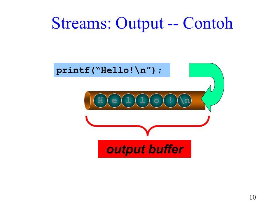 """9 Streams: Input – Contoh (cont) 135 25.5 _ \n int item; float cost; scanf(""""%d %f"""", &item, &cost); item 135 cost 25.5"""