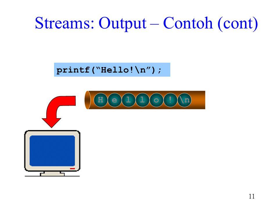 "10 Streams: Output -- Contoh Hello!\n printf(""Hello!\n""); output buffer"