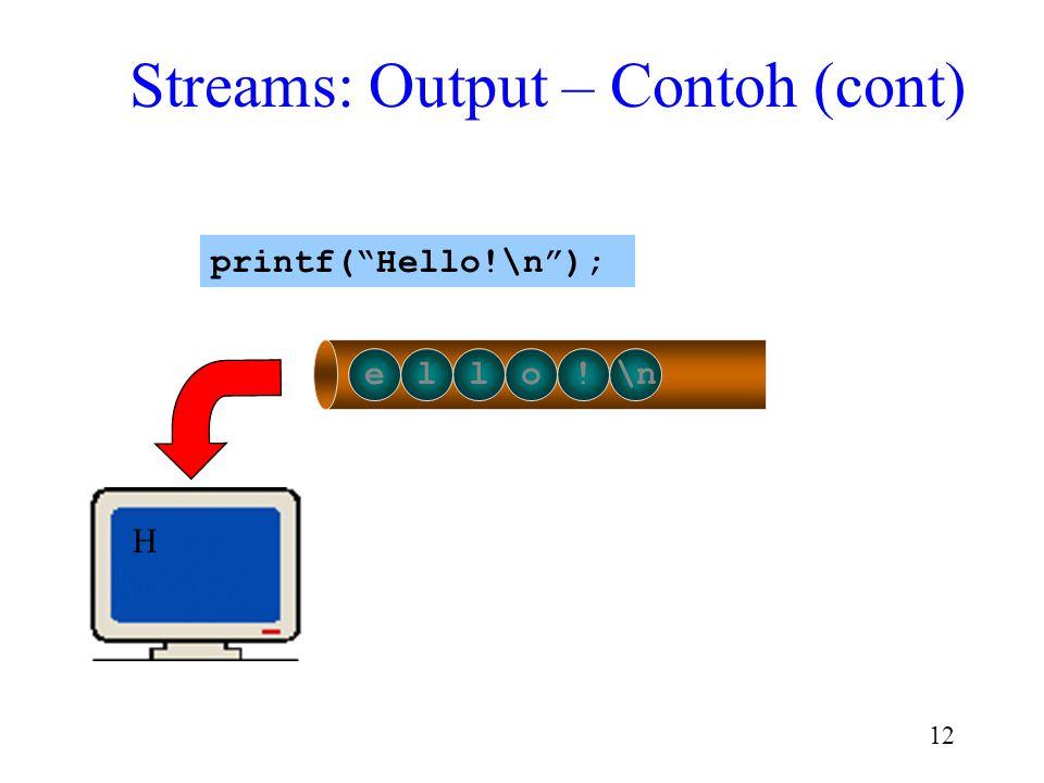 "11 Hello!\n printf(""Hello!\n""); Streams: Output – Contoh (cont)"