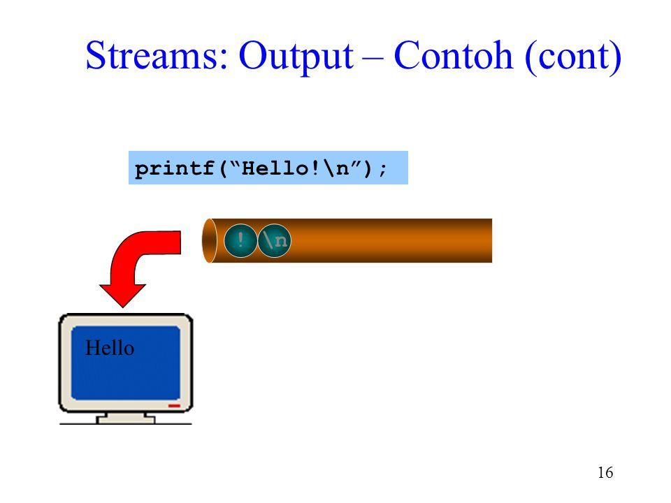 "15 o!\n Hell printf(""Hello!\n""); Streams: Output – Contoh (cont)"