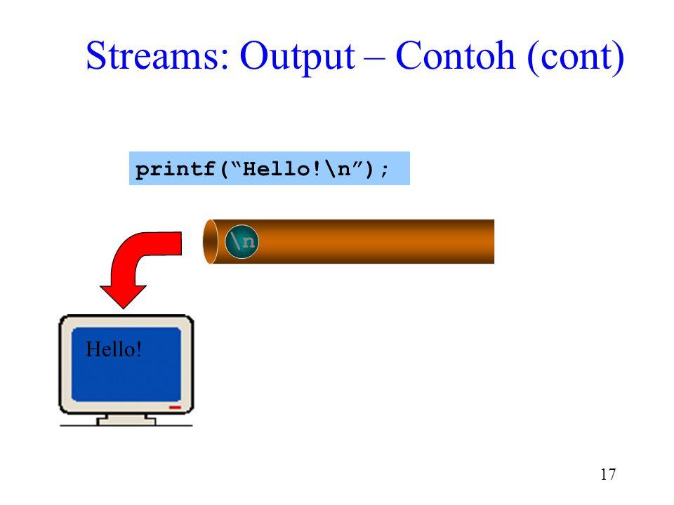 "16 !\n Hello printf(""Hello!\n""); Streams: Output – Contoh (cont)"