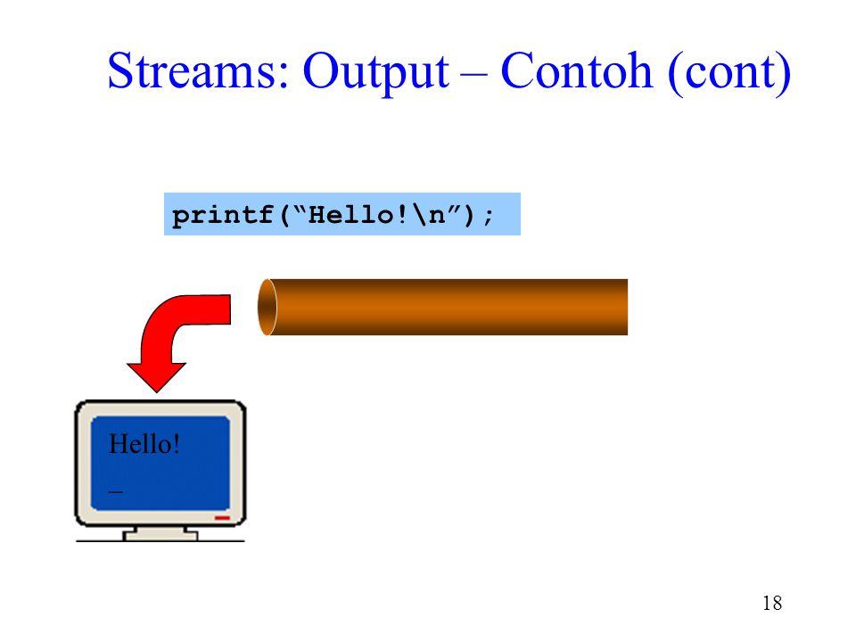 "17 \n Hello! printf(""Hello!\n""); Streams: Output – Contoh (cont)"