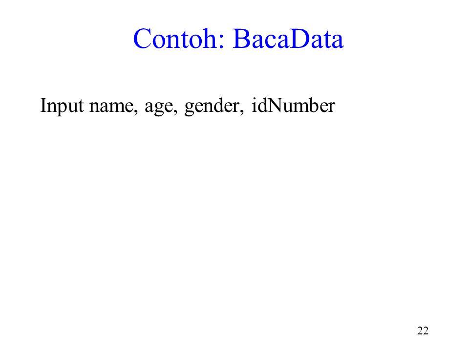 21 stdin: Input Data dibaca dari stdin (ke variabel) dengan fungsi scanf() Saat input berakhir, fungsi scanf() mengembalikan nilai khusus : EOF