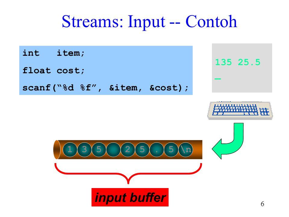 5 Streams Input text atau output adalah suatu yang dihadapkan pada urutan karakter Stream melayani sebagai channel untuk menyampaikan karakter antara