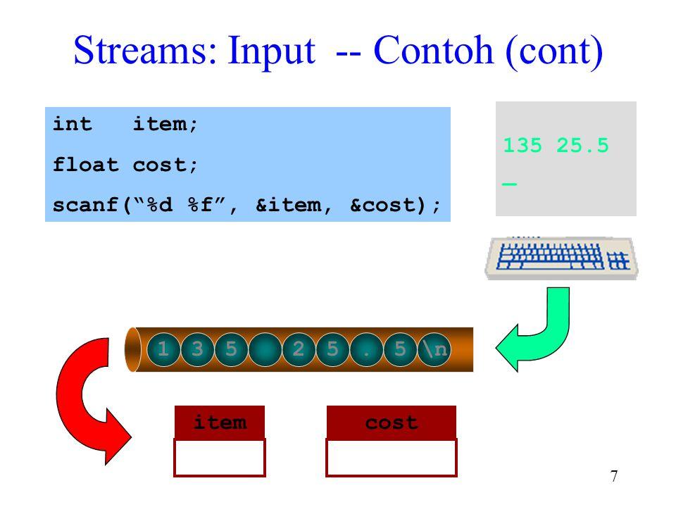 "6 Streams: Input -- Contoh 135 25.5 _ 135 25.5\n int item; float cost; scanf(""%d %f"", &item, &cost); input buffer"