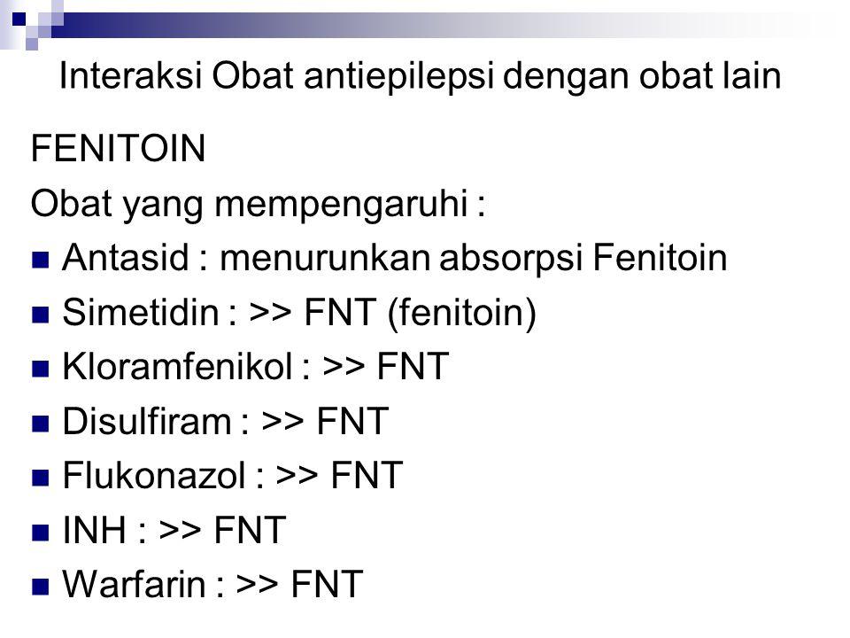 Interaksi Obat antiepilepsi dengan obat lain FENITOIN Obat yang mempengaruhi : Antasid : menurunkan absorpsi Fenitoin Simetidin : >> FNT (fenitoin) Kloramfenikol : >> FNT Disulfiram : >> FNT Flukonazol : >> FNT INH : >> FNT Warfarin : >> FNT