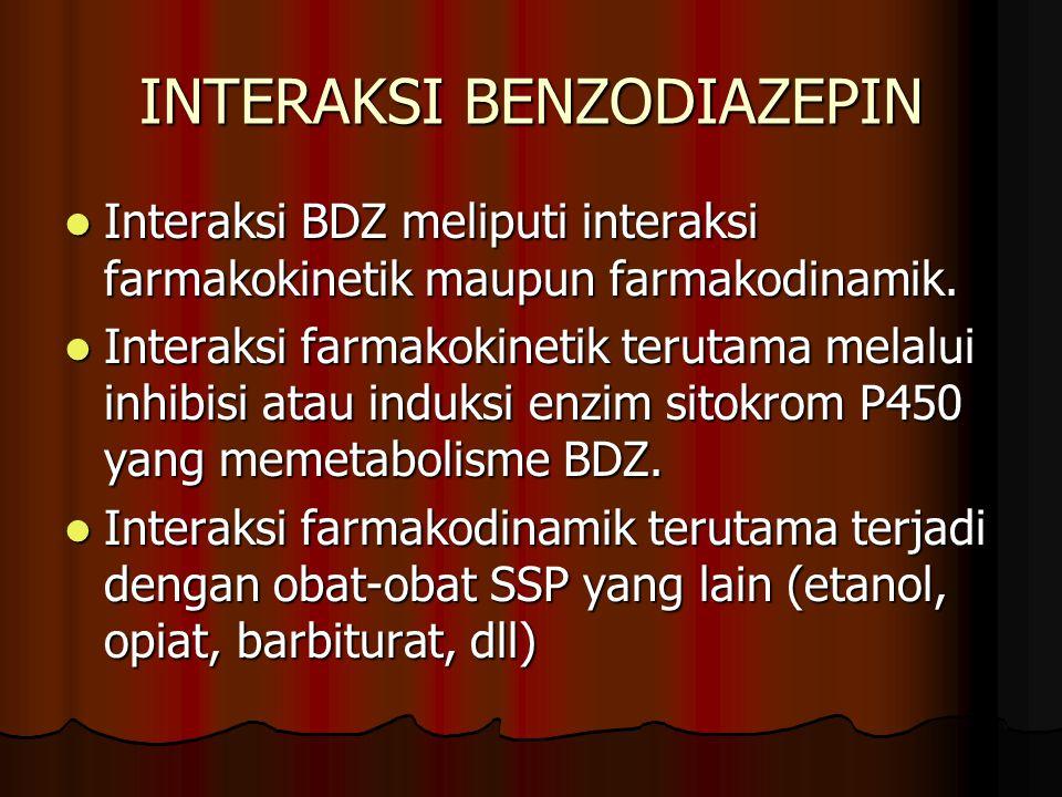 INTERAKSI BENZODIAZEPIN Interaksi BDZ meliputi interaksi farmakokinetik maupun farmakodinamik.
