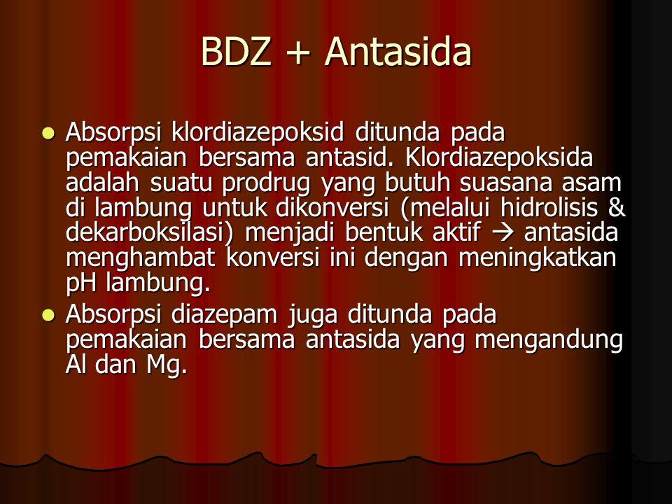 BDZ + Antasida Absorpsi klordiazepoksid ditunda pada pemakaian bersama antasid.