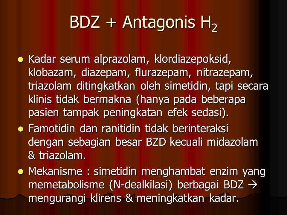 BDZ + Antagonis H 2 Kadar serum alprazolam, klordiazepoksid, klobazam, diazepam, flurazepam, nitrazepam, triazolam ditingkatkan oleh simetidin, tapi secara klinis tidak bermakna (hanya pada beberapa pasien tampak peningkatan efek sedasi).