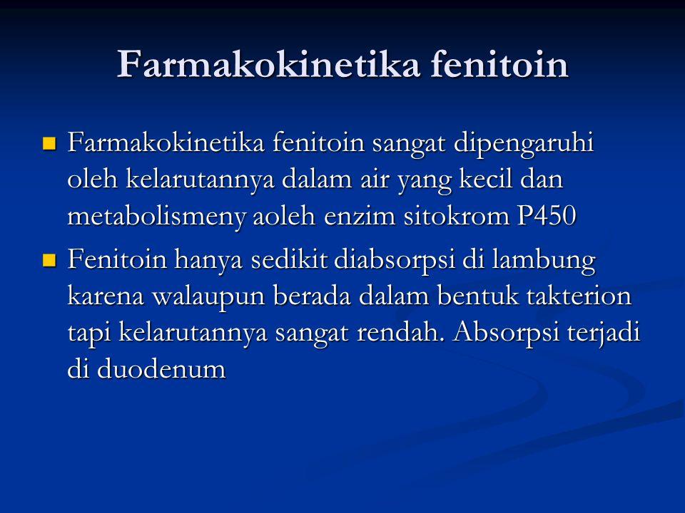 Farmakokinetika fenitoin Farmakokinetika fenitoin sangat dipengaruhi oleh kelarutannya dalam air yang kecil dan metabolismeny aoleh enzim sitokrom P450 Farmakokinetika fenitoin sangat dipengaruhi oleh kelarutannya dalam air yang kecil dan metabolismeny aoleh enzim sitokrom P450 Fenitoin hanya sedikit diabsorpsi di lambung karena walaupun berada dalam bentuk takterion tapi kelarutannya sangat rendah.