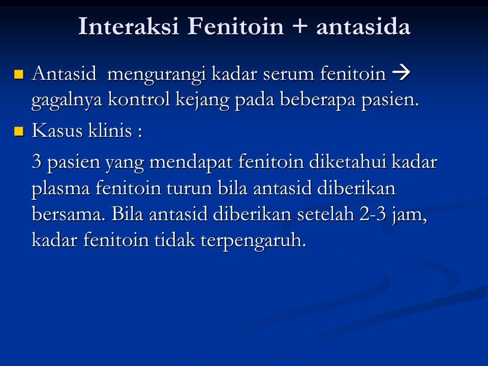 Interaksi Fenitoin + antasida Mekanisme : Mekanisme : Diduga diare dan peningkatan peristaltik saluran cerna karena antasid menyebabkan berkurangnya absorpsi fenitoin.