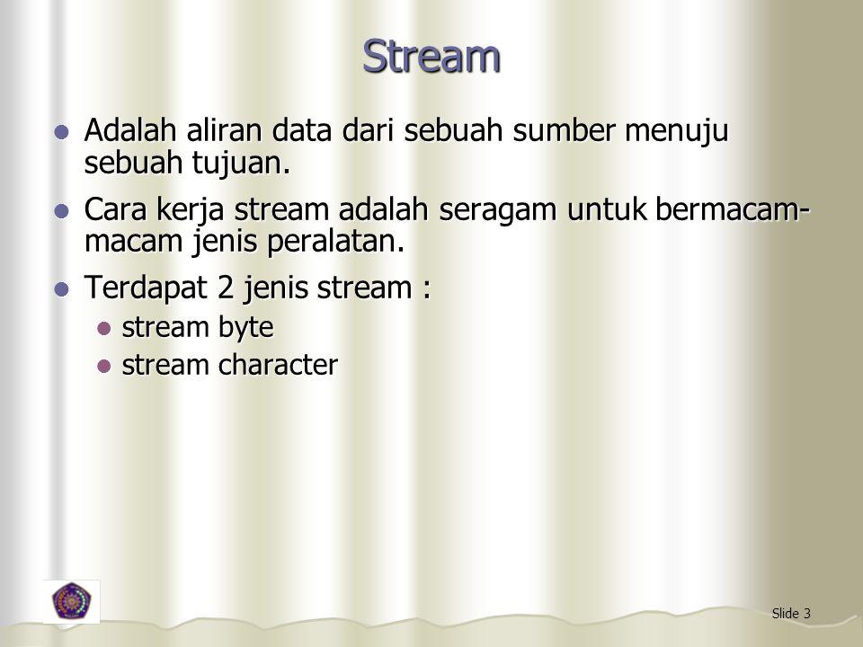 Slide 3 Stream Adalah aliran data dari sebuah sumber menuju sebuah tujuan. Adalah aliran data dari sebuah sumber menuju sebuah tujuan. Cara kerja stre