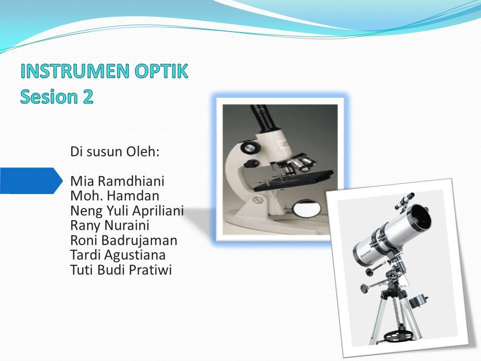 Perbesaran mikroskop untuk mata berakomodasi maksimum dapat diturunkan sebagai berikut :  Perbesaran dari lensa objektif adalah :  Perbesaran dari lensa okuler adalah:  Karena lensa okuler bekerja seperti halnya kaca pembesar maka perbesaran lensa okuler juga dirumuskan dengan:  Perbesaran Mikroskop adalah: Maka, +1
