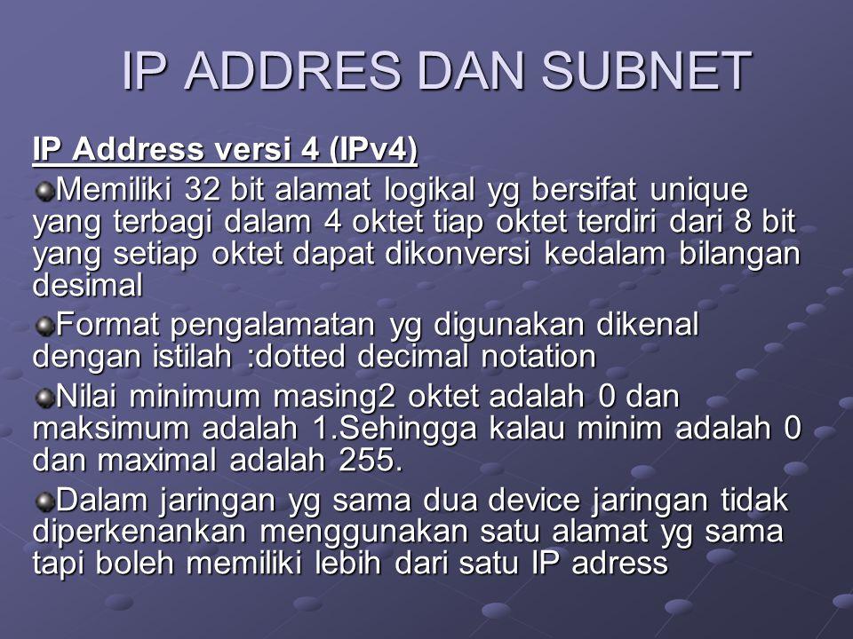IP ADDRES DAN SUBNET IP Address versi 4 (IPv4) Memiliki 32 bit alamat logikal yg bersifat unique yang terbagi dalam 4 oktet tiap oktet terdiri dari 8