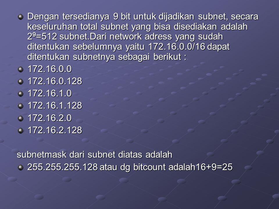 Dengan tersedianya 9 bit untuk dijadikan subnet, secara keseluruhan total subnet yang bisa disediakan adalah 2 9 =512 subnet.Dari network adress yang