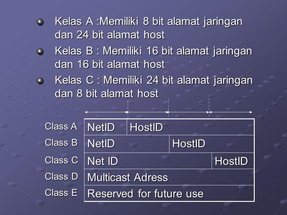 Kelas A :Memiliki 8 bit alamat jaringan dan 24 bit alamat host Kelas B : Memiliki 16 bit alamat jaringan dan 16 bit alamat host Kelas C : Memiliki 24