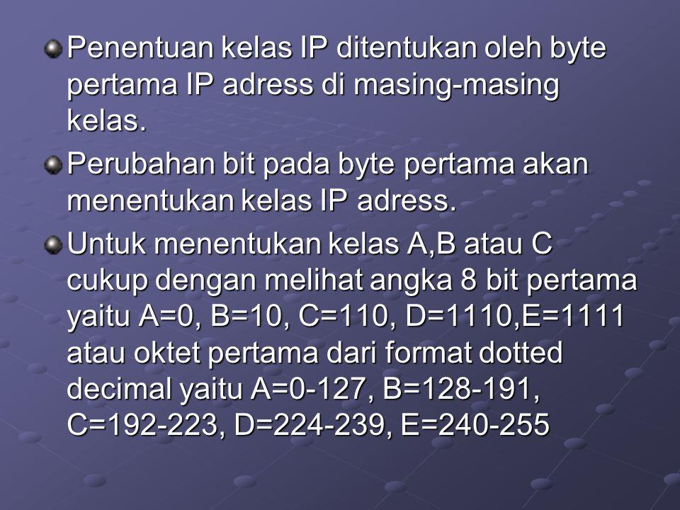 NETMASK Digunakan untuk memisahkan antara NetID dan HostID dengan definisi : 1.binary 1 untuk networ-id 2.Binary 0 untuk host-id Tiap kelas IP memiliki default netmask (natural netmask) Kelas A: 11111111.00000000.00000000.00000000 255.