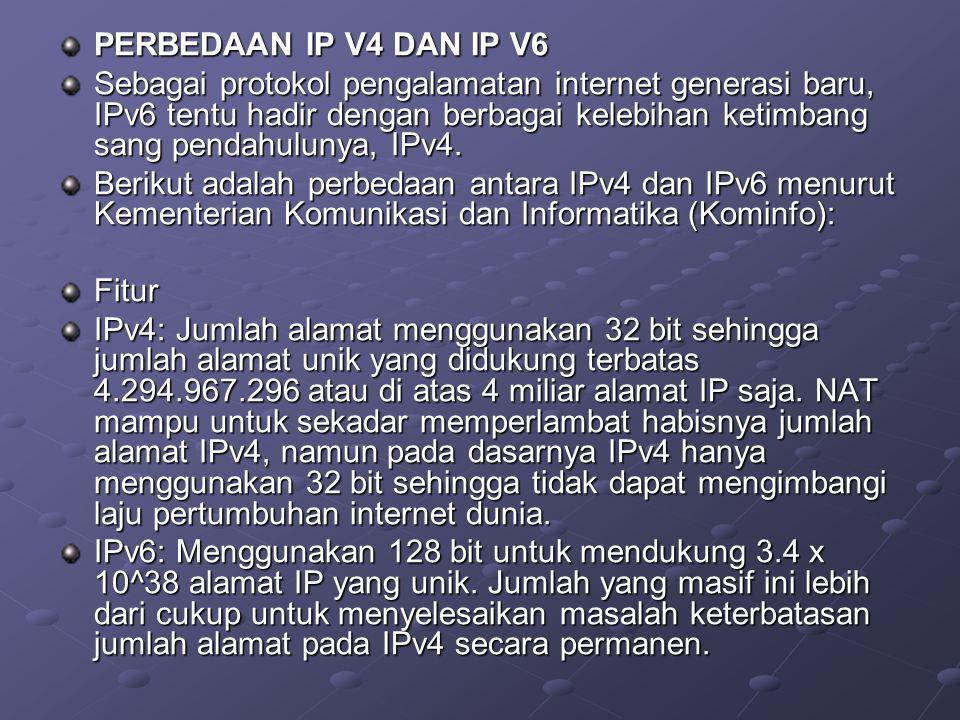 PERBEDAAN IP V4 DAN IP V6 Sebagai protokol pengalamatan internet generasi baru, IPv6 tentu hadir dengan berbagai kelebihan ketimbang sang pendahulunya