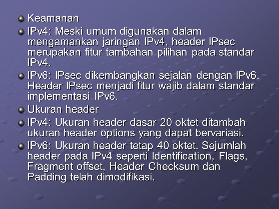 Keamanan IPv4: Meski umum digunakan dalam mengamankan jaringan IPv4, header IPsec merupakan fitur tambahan pilihan pada standar IPv4. IPv6: IPsec dike
