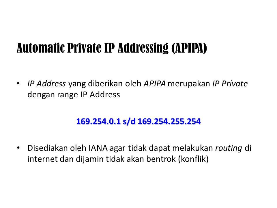 IP Address Private Merupakan alamat-alamat yang disediakan untuk digunakan oleh internal jaringan komputer yang ada pada suatu institusi atau organisa