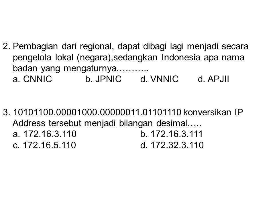1.Badan yang menangani IP Adress regional wilayah Amerika Selatan & Pusat dan Carribean adalah…….. a. ARINb. APNIC c. LACNIC d. RIPE NCC 2. Pembagian