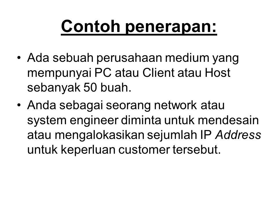 Contoh penerapan: Ada sebuah perusahaan medium yang mempunyai PC atau Client atau Host sebanyak 50 buah.