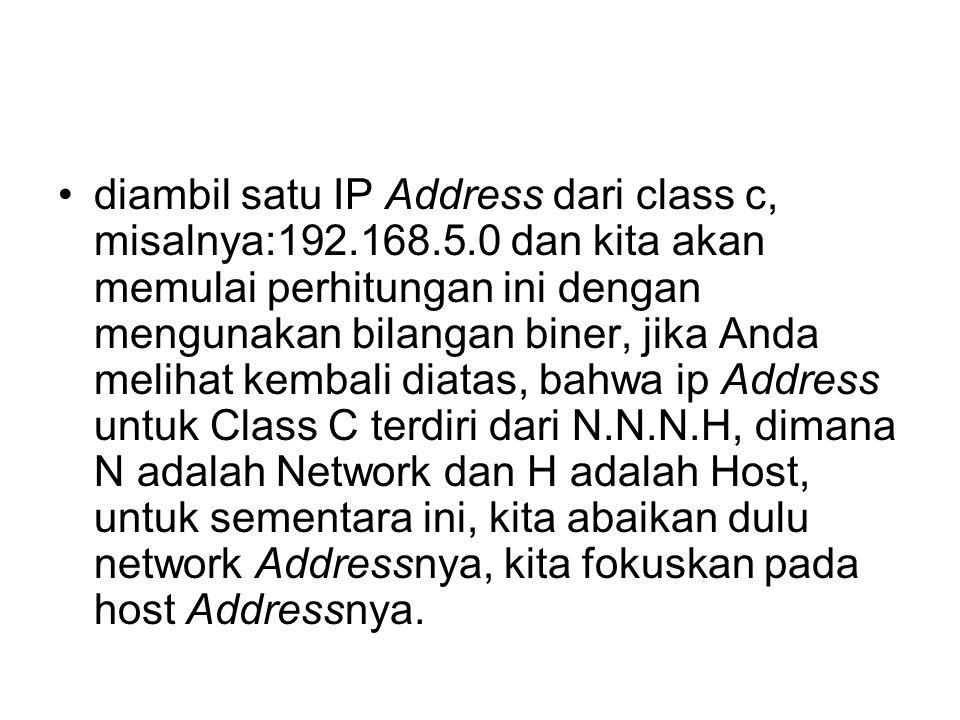 diambil satu IP Address dari class c, misalnya:192.168.5.0 dan kita akan memulai perhitungan ini dengan mengunakan bilangan biner, jika Anda melihat kembali diatas, bahwa ip Address untuk Class C terdiri dari N.N.N.H, dimana N adalah Network dan H adalah Host, untuk sementara ini, kita abaikan dulu network Addressnya, kita fokuskan pada host Addressnya.