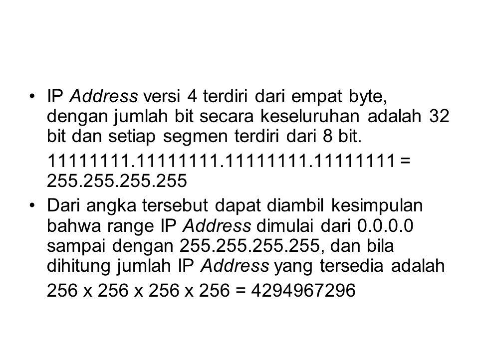 IP Address versi 4 terdiri dari empat byte, dengan jumlah bit secara keseluruhan adalah 32 bit dan setiap segmen terdiri dari 8 bit.
