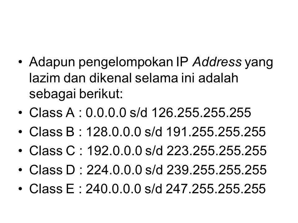 Adapun pengelompokan IP Address yang lazim dan dikenal selama ini adalah sebagai berikut: Class A : 0.0.0.0 s/d 126.255.255.255 Class B : 128.0.0.0 s/d 191.255.255.255 Class C : 192.0.0.0 s/d 223.255.255.255 Class D : 224.0.0.0 s/d 239.255.255.255 Class E : 240.0.0.0 s/d 247.255.255.255