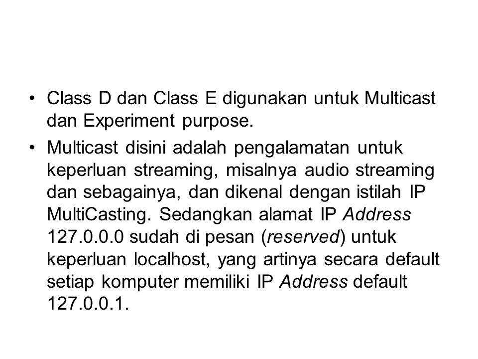 Class D dan Class E digunakan untuk Multicast dan Experiment purpose.