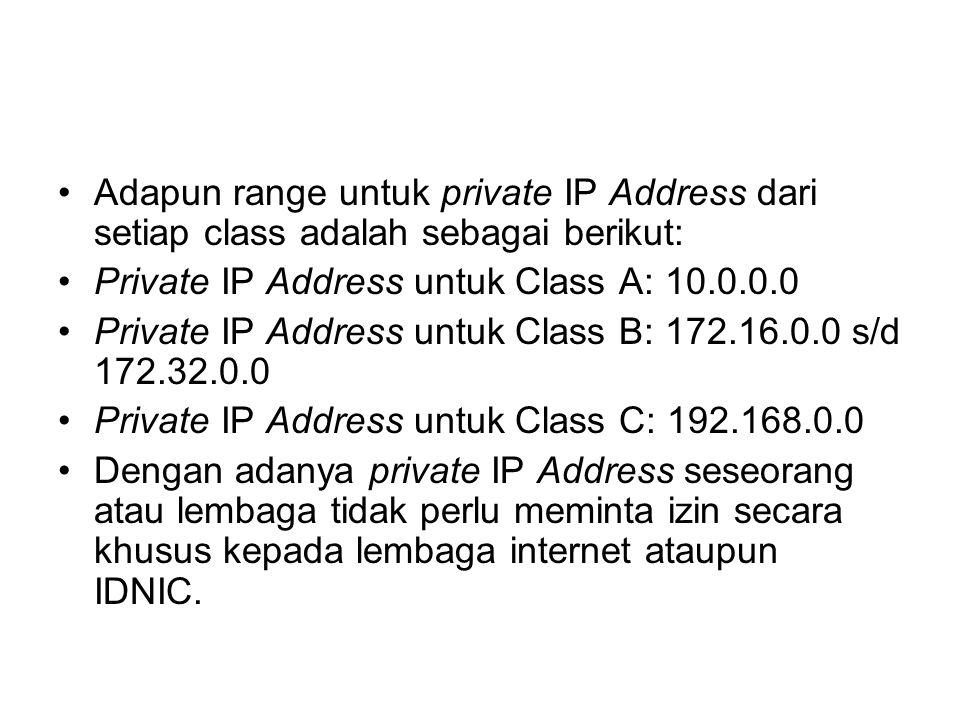Adapun range untuk private IP Address dari setiap class adalah sebagai berikut: Private IP Address untuk Class A: 10.0.0.0 Private IP Address untuk Class B: 172.16.0.0 s/d 172.32.0.0 Private IP Address untuk Class C: 192.168.0.0 Dengan adanya private IP Address seseorang atau lembaga tidak perlu meminta izin secara khusus kepada lembaga internet ataupun IDNIC.
