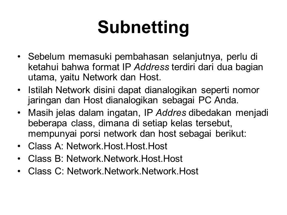 Subnetting Sebelum memasuki pembahasan selanjutnya, perlu di ketahui bahwa format IP Address terdiri dari dua bagian utama, yaitu Network dan Host.