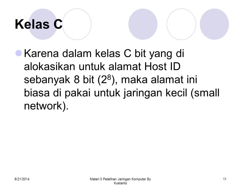 8/21/2014Materi 3 Pelatihan Jaringan Komputer By Kustanto 11 Kelas C Karena dalam kelas C bit yang di alokasikan untuk alamat Host ID sebanyak 8 bit (