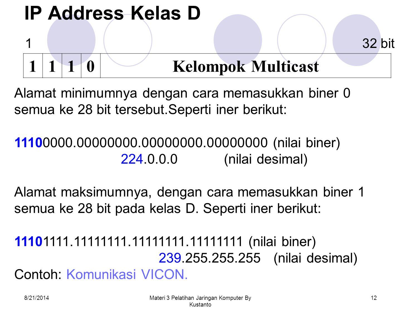 8/21/2014Materi 3 Pelatihan Jaringan Komputer By Kustanto 12 IP Address Kelas D 1110Kelompok Multicast Alamat minimumnya dengan cara memasukkan biner