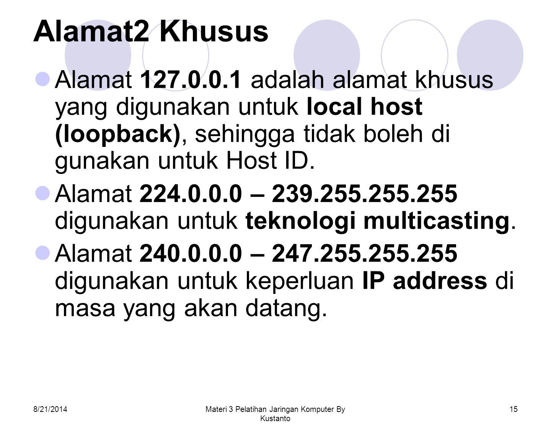 8/21/2014Materi 3 Pelatihan Jaringan Komputer By Kustanto 15 Alamat2 Khusus Alamat 127.0.0.1 adalah alamat khusus yang digunakan untuk local host (loo