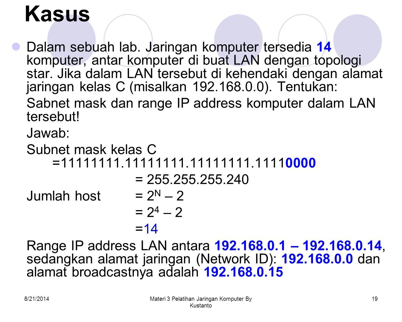 8/21/2014Materi 3 Pelatihan Jaringan Komputer By Kustanto 19 Kasus Dalam sebuah lab. Jaringan komputer tersedia 14 komputer, antar komputer di buat LA
