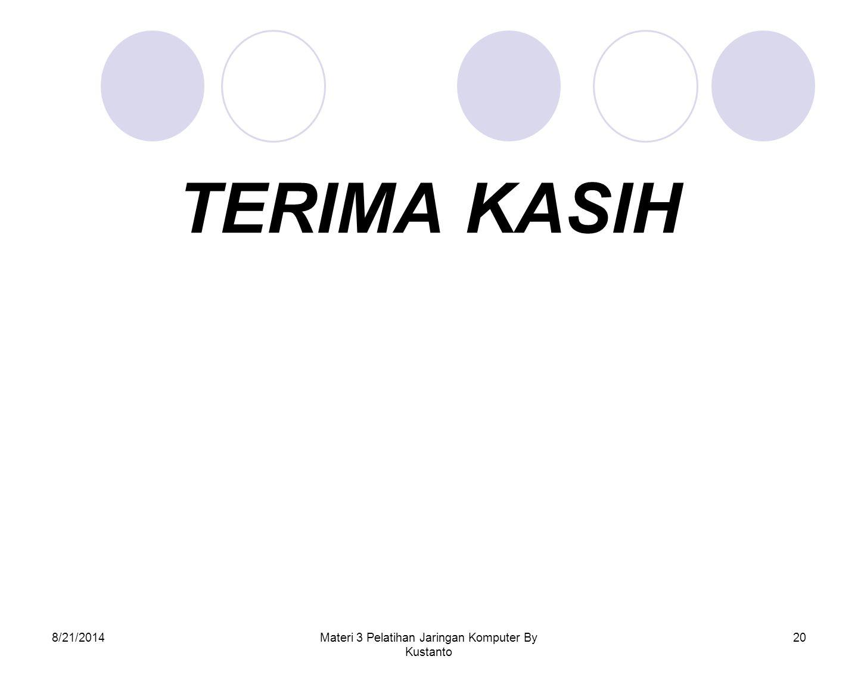 8/21/2014Materi 3 Pelatihan Jaringan Komputer By Kustanto 20 TERIMA KASIH
