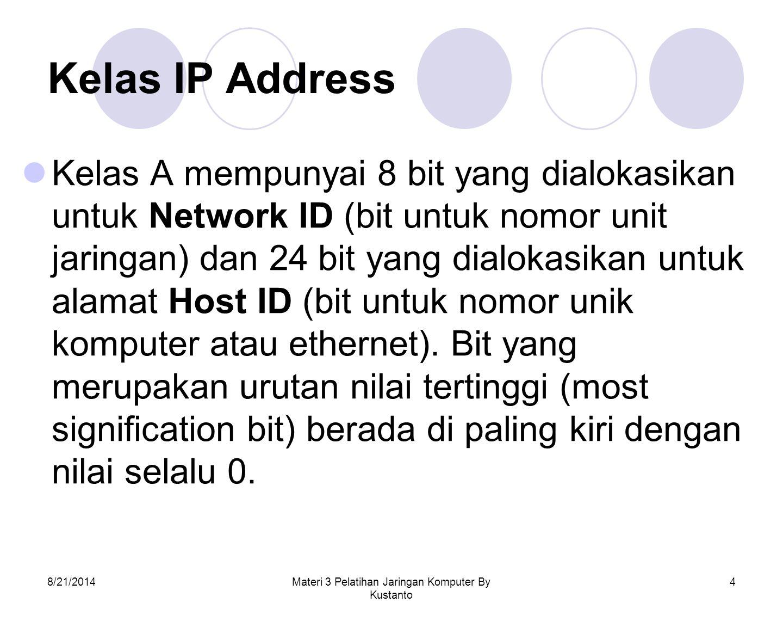 8/21/2014Materi 3 Pelatihan Jaringan Komputer By Kustanto 4 Kelas IP Address Kelas A mempunyai 8 bit yang dialokasikan untuk Network ID (bit untuk nom