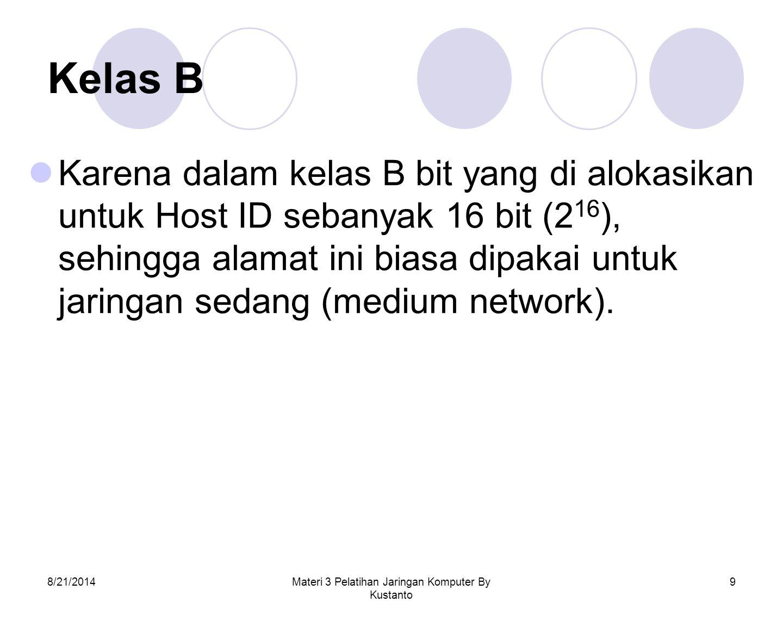 8/21/2014Materi 3 Pelatihan Jaringan Komputer By Kustanto 9 Kelas B Karena dalam kelas B bit yang di alokasikan untuk Host ID sebanyak 16 bit (2 16 ),