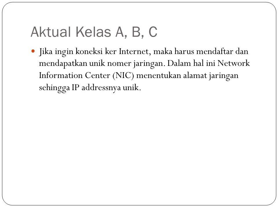 Aktual Kelas A, B, C Jika ingin koneksi ker Internet, maka harus mendaftar dan mendapatkan unik nomer jaringan.