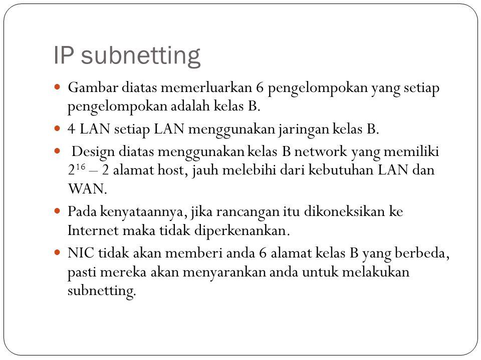 IP subnetting Gambar diatas memerluarkan 6 pengelompokan yang setiap pengelompokan adalah kelas B.