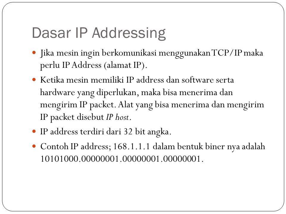 IP Subbnetting IP Subnetting menciptkan jumlah yang jauh lebih banyak untuk pengelompokan jaringan IP address, dibandingkan dengan hanya langsung menggunakan kelas A,B/C.