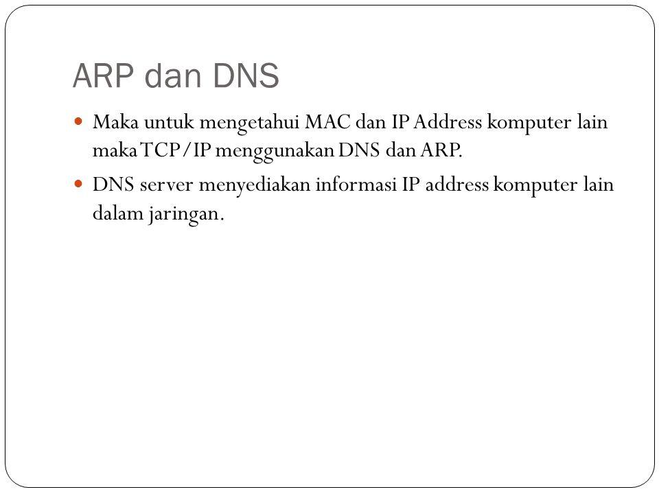 Maka untuk mengetahui MAC dan IP Address komputer lain maka TCP/IP menggunakan DNS dan ARP.