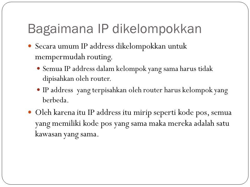 Bagaimana IP dikelompokkan Secara umum IP address dikelompokkan untuk mempermudah routing.