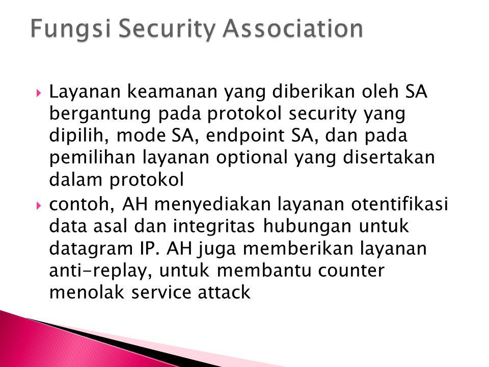  Layanan keamanan yang diberikan oleh SA bergantung pada protokol security yang dipilih, mode SA, endpoint SA, dan pada pemilihan layanan optional ya