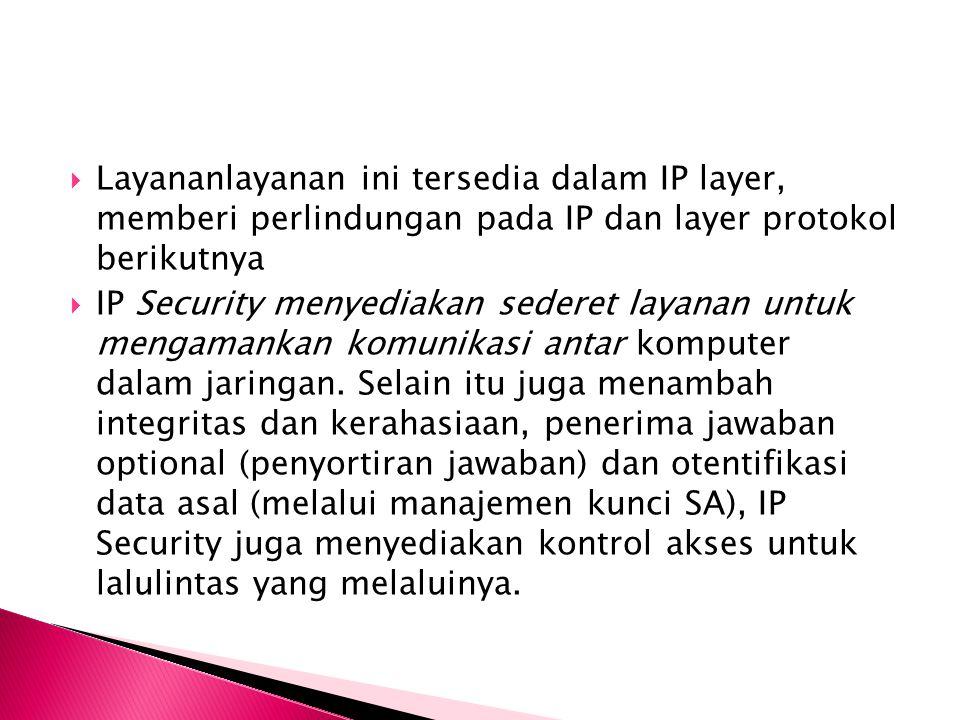  Layananlayanan ini tersedia dalam IP layer, memberi perlindungan pada IP dan layer protokol berikutnya  IP Security menyediakan sederet layanan untuk mengamankan komunikasi antar komputer dalam jaringan.