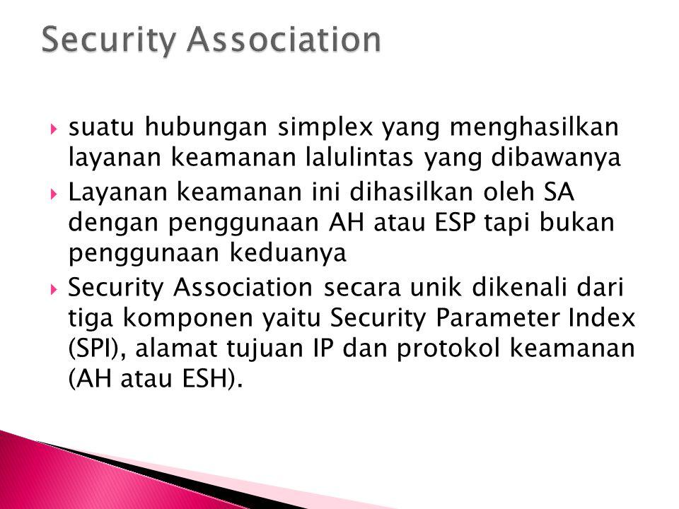  suatu hubungan simplex yang menghasilkan layanan keamanan lalulintas yang dibawanya  Layanan keamanan ini dihasilkan oleh SA dengan penggunaan AH a