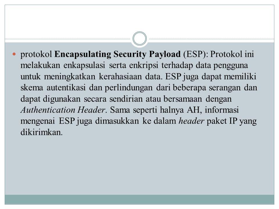 protokol Encapsulating Security Payload (ESP): Protokol ini melakukan enkapsulasi serta enkripsi terhadap data pengguna untuk meningkatkan kerahasiaan